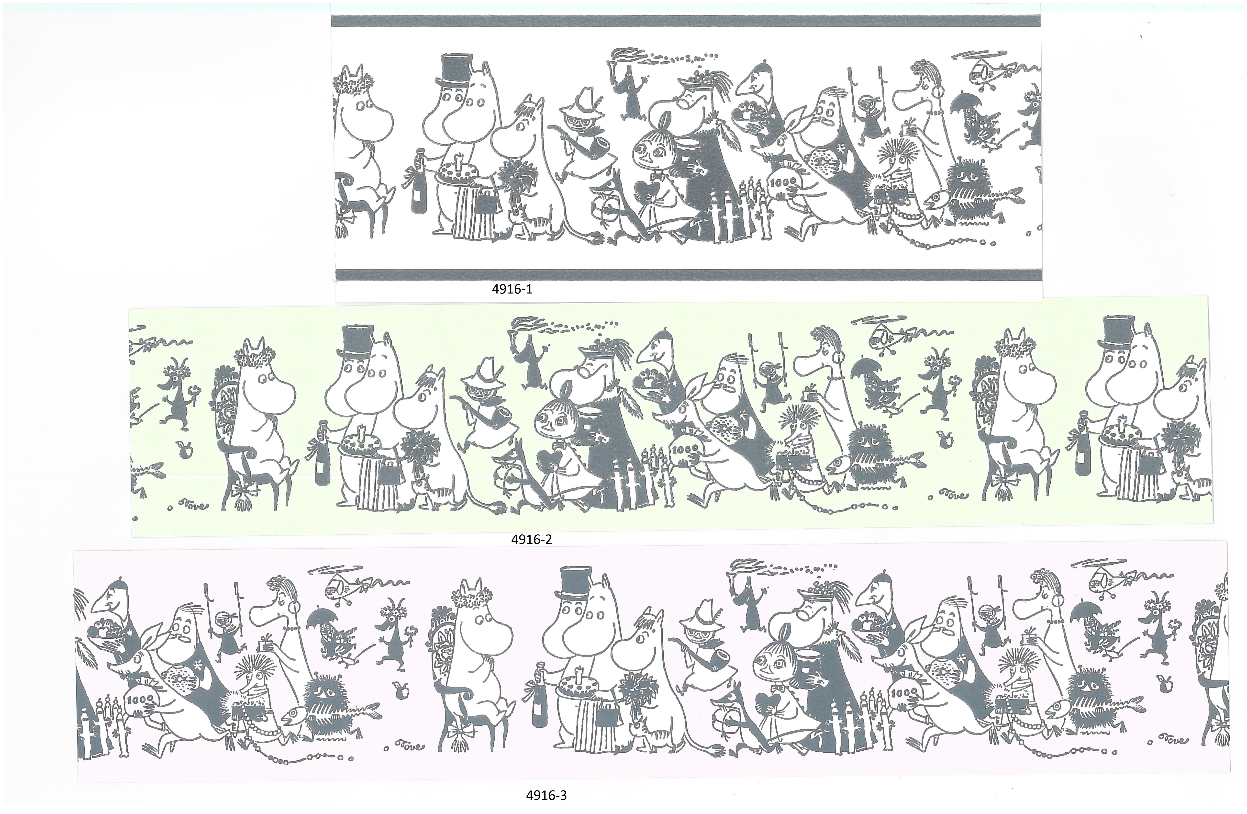 Moomin borders 4916-1 , 4916-2 , 4916-3